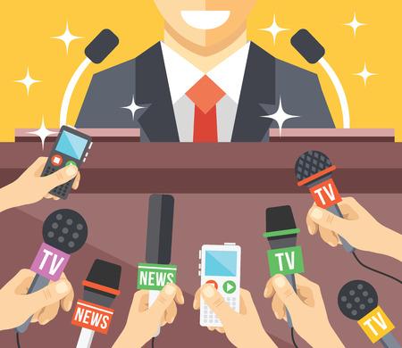Illustration for Press conference event flat illustration - Royalty Free Image