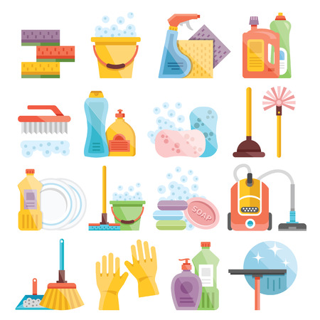 Illustration pour Household supplies and cleaning flat icons set - image libre de droit
