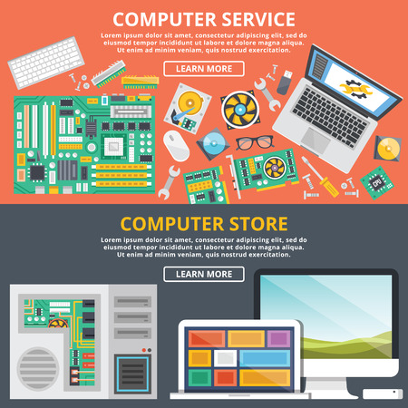 Illustration pour Computer service, computer store flat illustration concepts set - image libre de droit