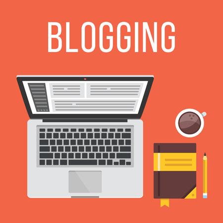 Illustration pour Blogging. Laptop, notepad, pencil and coffee cup. Top view. Flat design illustration concept - image libre de droit