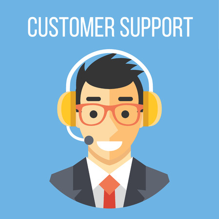 Illustration pour Happy customer support manager with headphones - image libre de droit