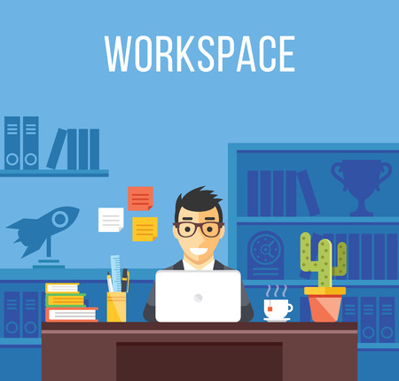 Illustration pour Man at work. Man in suit in office room. Creative flat design interior, workplace, workspace concepts - image libre de droit