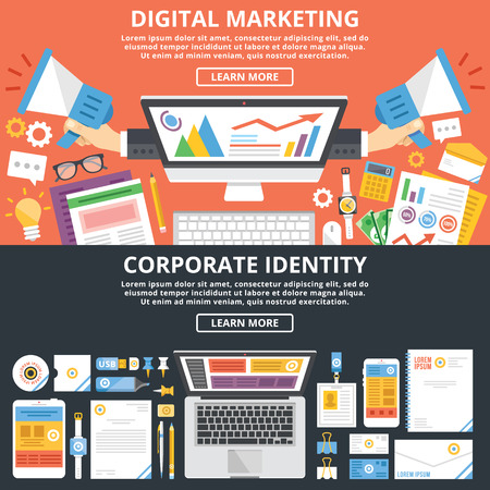Ilustración de Digital marketing, corporate identity flat illustration concepts set - Imagen libre de derechos
