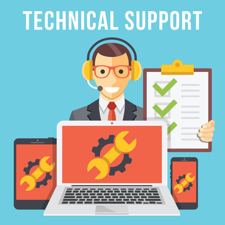 Photo for Technical support flat illustration concept - Royalty Free Image