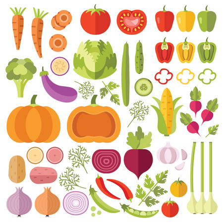 Vegetables flat icons set
