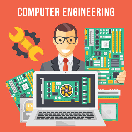 Illustration pour Computer engineering flat illustration concept - image libre de droit