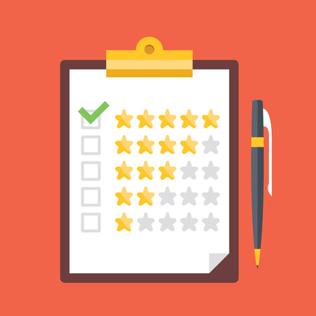 Illustration pour Clipboard with rating stars and pen. Quality control, customers reviews, service rating concepts - image libre de droit