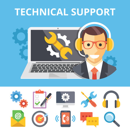 Illustrazione per Technical support flat illustration and flat technical support icons set - Immagini Royalty Free