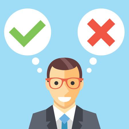 Illustration pour Man and speech bubbles with checkmarks flat illustration. Decision making concept - image libre de droit