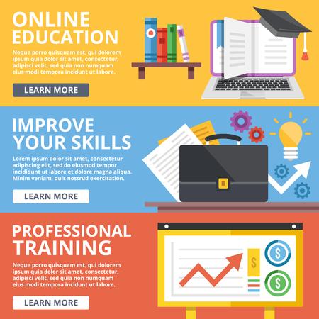 Illustration pour Online education, skills improvement, professional training flat illustration concepts set - image libre de droit