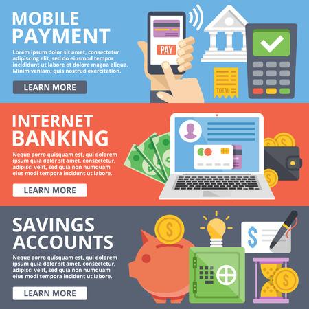 Illustration pour Mobile payment, internet banking, business, savings accounts flat illustration concepts set - image libre de droit