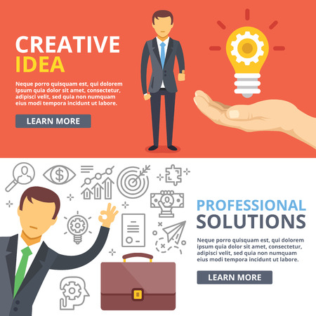 Illustration pour Creative idea, professional solutions flat illustration abstract concepts set - image libre de droit