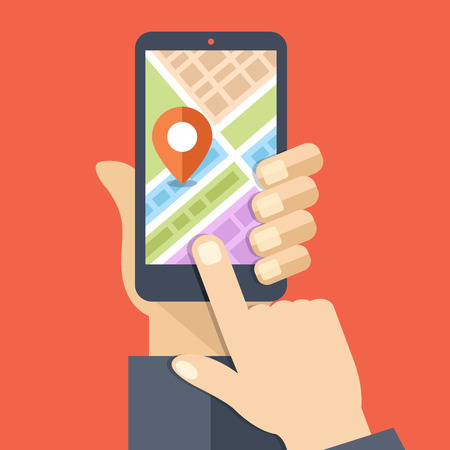 Illustration pour Hand holds smartphone with city map gps navigator on smartphone screen - image libre de droit