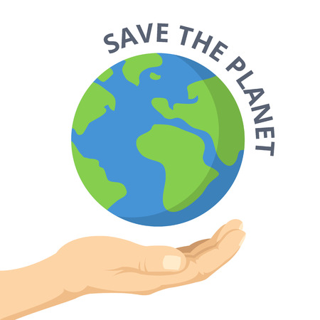 Illustration pour Save the planet. Hand palm and Earth. Vector flat illustration - image libre de droit