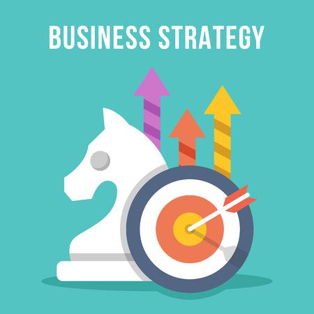 Illustration pour Business strategy. Chess knight, target, arrow, growth arrows icons set - image libre de droit