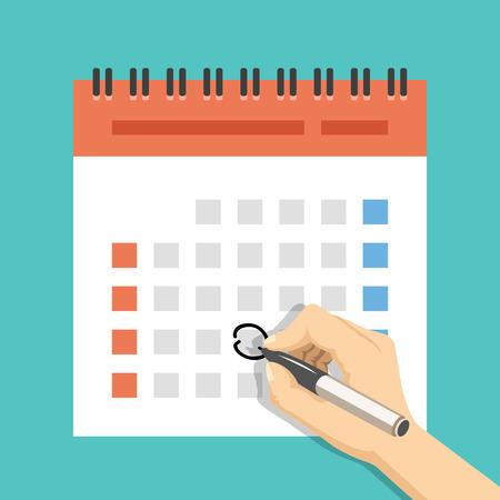Illustration pour Hand with pen mark calendar. US version with week started on Sunday. Flat vector illustration - image libre de droit
