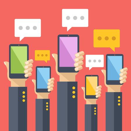 Ilustración de Hands hold smartphones with chat bubbles. Instant messaging, texting, sms. Flat vector illustration - Imagen libre de derechos