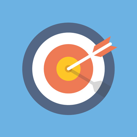 Illustrazione per Target marketing icon. Target with arrow symbol. Flat vector illustration - Immagini Royalty Free