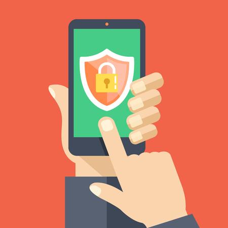 Ilustración de Mobile security app on smartphone screen. Flat design vector illustration - Imagen libre de derechos