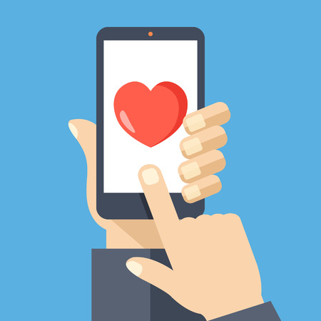 Ilustración de Heart on smartphone screen. Creative flat design vector illustration - Imagen libre de derechos