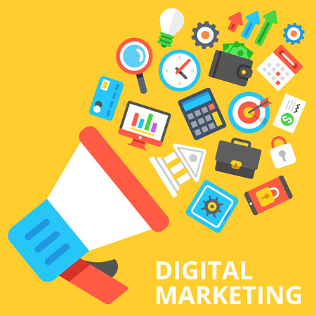 Illustration pour Digital marketing flat illustration. Loudspeaker with a lot of marketing and business icons - image libre de droit