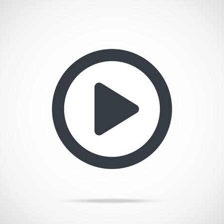 Illustration pour Vector play icon. Black play button, round flat icon - image libre de droit