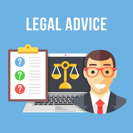 Illustration pour Legal advice. Lawyer, laptop with gold scale icon, clipboard with client questions. Creative flat design vector illustration - image libre de droit