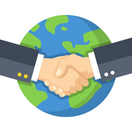 Illustration pour Handshake and planet Earth. World peace, global agreement, international partnership, worldwide business concepts. Flat design vector illustration - image libre de droit