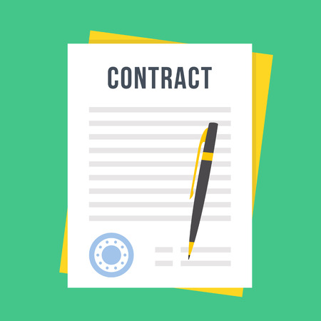 Illustration pour Contract document with rubber stamp and pen. Sign contract concept. Flat style design vector illustration - image libre de droit