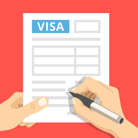 Photo pour Man hands filling out visa application. Hand holds visa application and hand holds pen. Modern concepts. Creative flat design vector illustration - image libre de droit