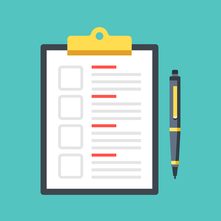 Illustration pour Checklist with checkboxes and pen. Clipboard with document and check boxes. Top view. Premium quality. Modern flat design graphic elements. Vector illustration - image libre de droit