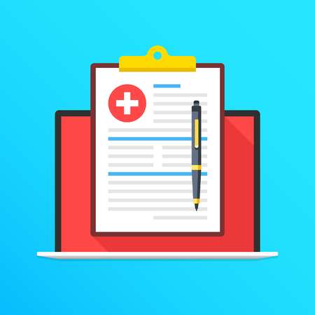 Illustration pour Health insurance on laptop screen. Notebook and clipboard with medical record and pen. Filling application form concepts. Modern long shadow flat design graphic elements. Vector illustration - image libre de droit