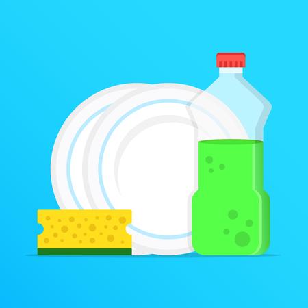 Ilustración de Dishwashing, washing dishes. Dishwashing liquid, dishes and yellow sponge. Modern graphic elements. Flat design. Vector illustration - Imagen libre de derechos