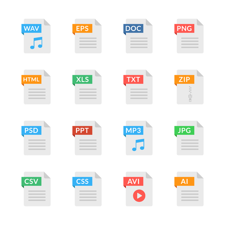 Illustration pour Document icons. File formats. Flat design. Vector icons set isolated on white background - image libre de droit