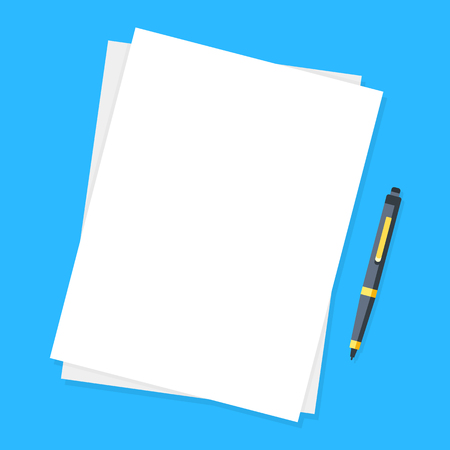 Illustration pour Blank sheet of papers and pen. Modern flat design graphic elements. - image libre de droit
