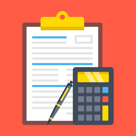 Illustration pour Clipboard with document, calculator and pen. Financial calculations, accounting, application form, financial statement, audit, budget calculator concepts. Modern flat design. - image libre de droit