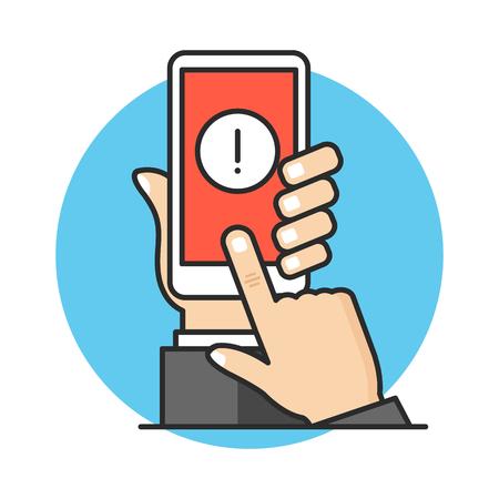 Ilustración de Smartphone notification, mobile alert, warning concepts. Hand holding mobile phone with exclamation point, finger touching screen. Modern flat line design. Vector illustration - Imagen libre de derechos