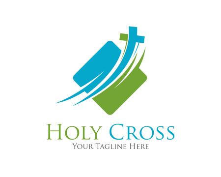 Ilustración de Cross vector logo design template.  Template logo for churches and Christian organizations cross . Calvary cross church logo . - Imagen libre de derechos