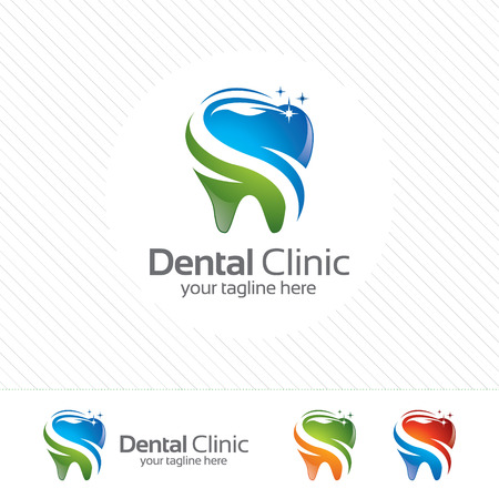 Illustration pour Creative dental clinic logo vector. Abstract dental symbol icon with modern design style. - image libre de droit