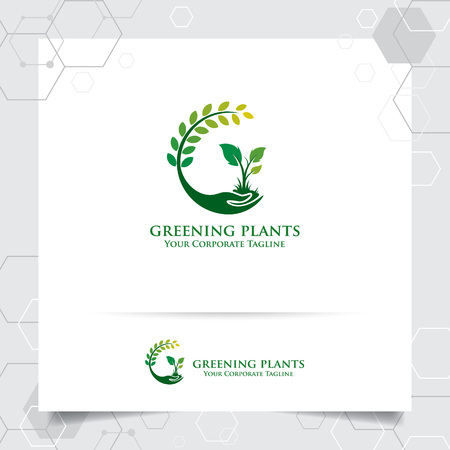 Ilustración de Agriculture logo design with concept of hand icon and plants vector. Green nature logo used for agricultural systems, farmer, and plantation products. - Imagen libre de derechos