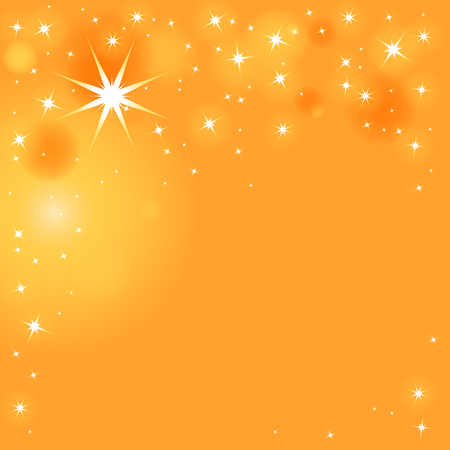 Illustrazione per Sparkling stars in different sizes on orange-yellow background - Immagini Royalty Free