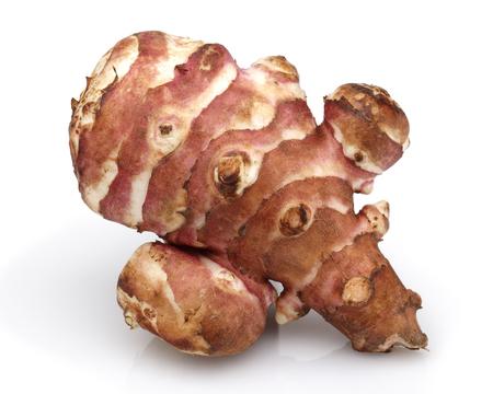 Photo for Jerusalem artichoke or sweet potato and slices isolated on white background - Royalty Free Image