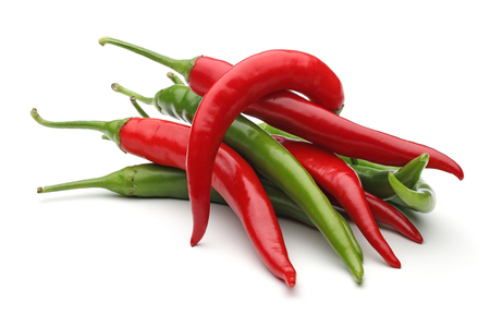 Photo pour Green and red peppers, isolated on white background - image libre de droit