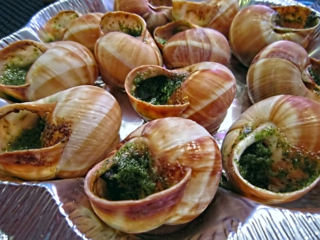 Snails cooked in a special recipe. Paris. France.