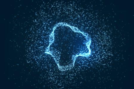 Illustration pour Glowing particles background, abstract digital dark illustration - image libre de droit