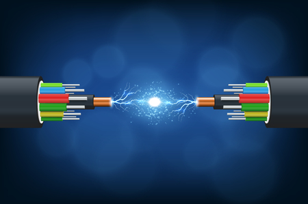 Illustration pour Fiber optical cable. Illustration isolated on blue background. - image libre de droit
