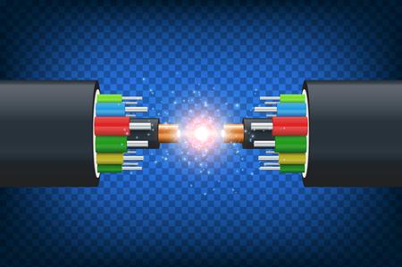 Illustration pour Fiber optical cable. Illustration isolated on blue background. Graphic concept for your design - image libre de droit