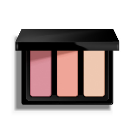 Ilustración de Modern eye shadow palette. Mockup illustration isolated on background. Graphic concept for your design - Imagen libre de derechos