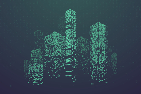Illustration pour Glowing particles in form of futuristic city skyline. Futuristic dots pattern, abstract binary code  illustration - image libre de droit