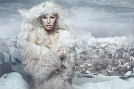 Photo for Snow queen on the penguins island - Royalty Free Image
